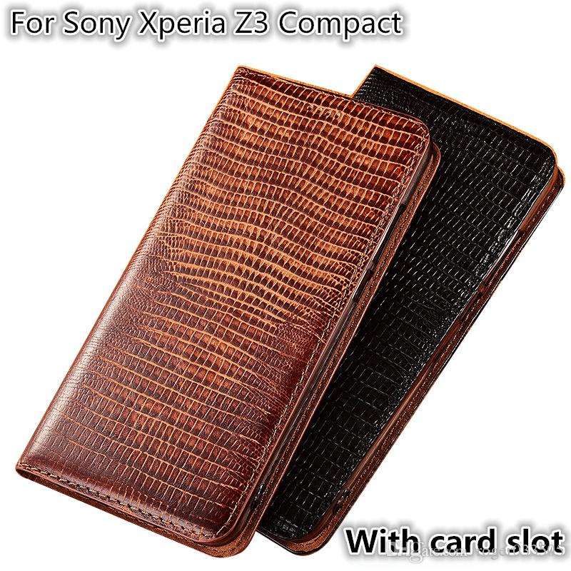 QX08 Lizard Pattern Genuine Leather Magnetic Phone Case For Sony Xperia Z3 Compact Flip Case For Sony Xperia Z3 Compact Phone Bag Card Slot