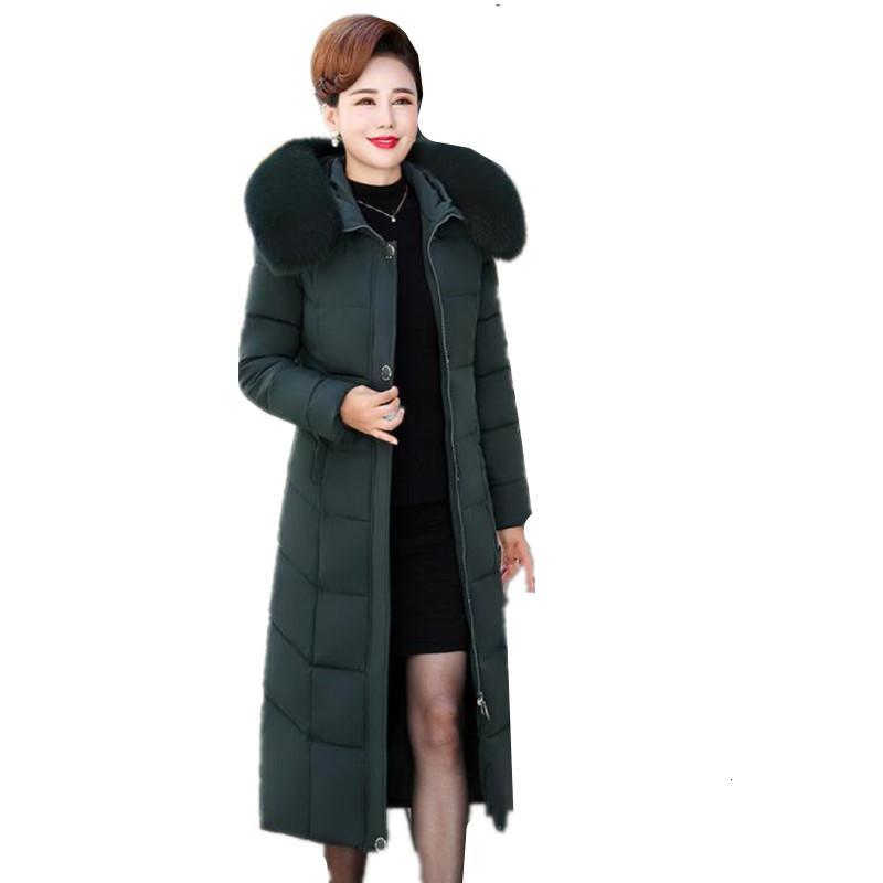 Зимняя куртка женщин длина хлопок среднего капюшоном меховой воротник хлопок Parker женщин куртки больших размеров Толстые теплые телогрейки Q7 SH190920