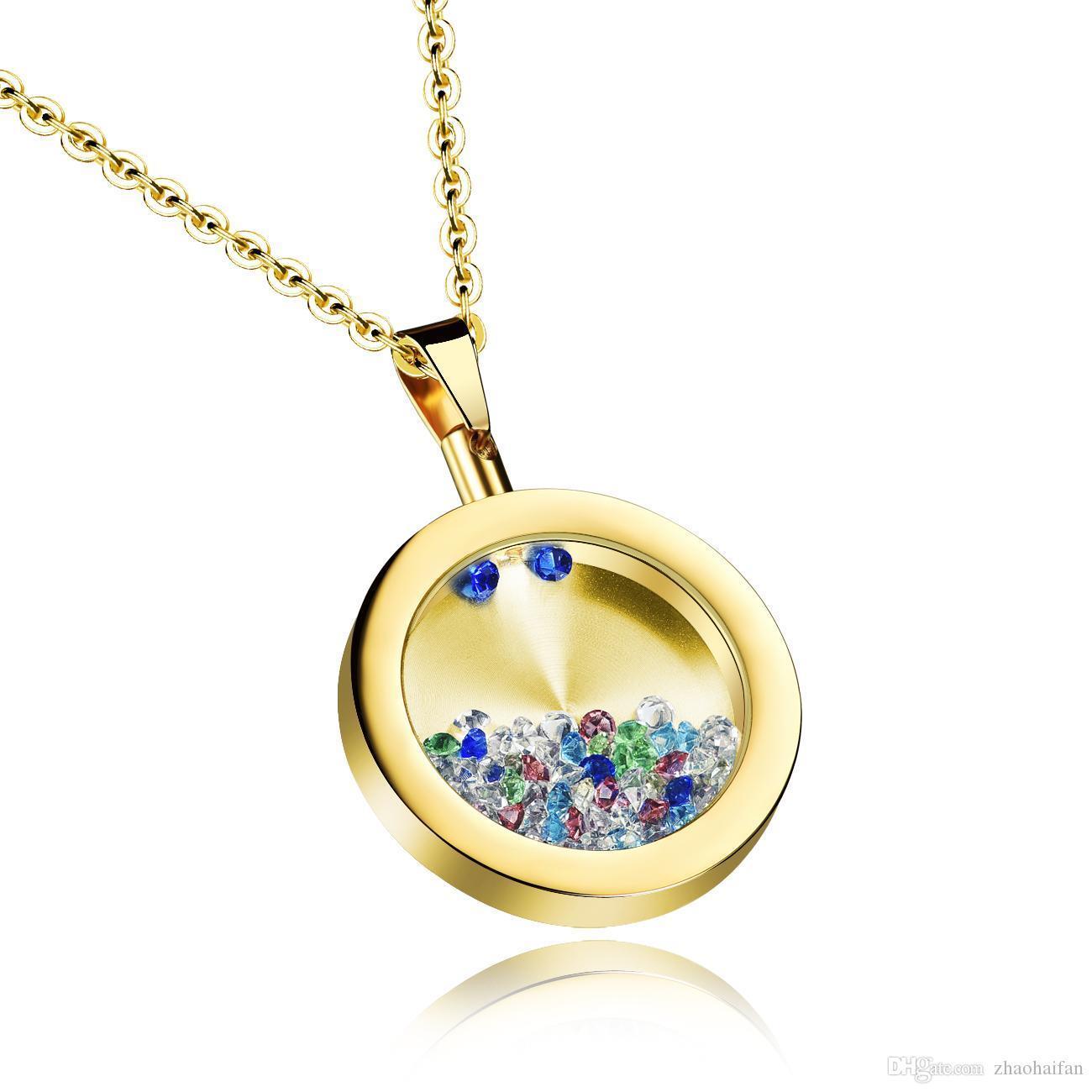 ZHF JÓIAS Unisex Desejando garrafa pingente romântico redonda de aço inoxidável pingentes colares gratuito Chain Link DGX1059 moda jóias