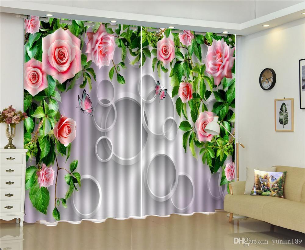 3d Vorhang Rosa Petite Blumen Schmetterling Kreis 3D Floral Vorhänge Wohnzimmer Schlafzimmer Schöne Praktische Blackout Vorhänge