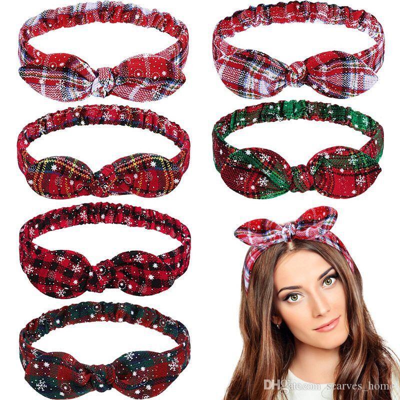 Mode de Noël Hairband oreille de lapin mignon imprimé bandeau élastique Turban Turban Accessoires cheveux pour les filles des femmes