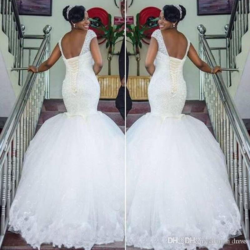 New Design Mermaid Wedding Dresses Cap Sleeve Scoop Neck Beads Lace Tulle Long Sleeveless Luxury Bridal Gowns Custom Made Fashion