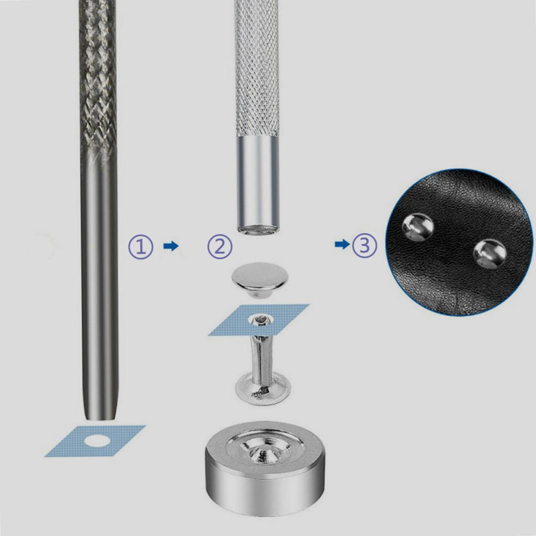 tlg Set Doppel Kappe Nieten Metall Befestigung Werkzeug Tasche für Leder 180