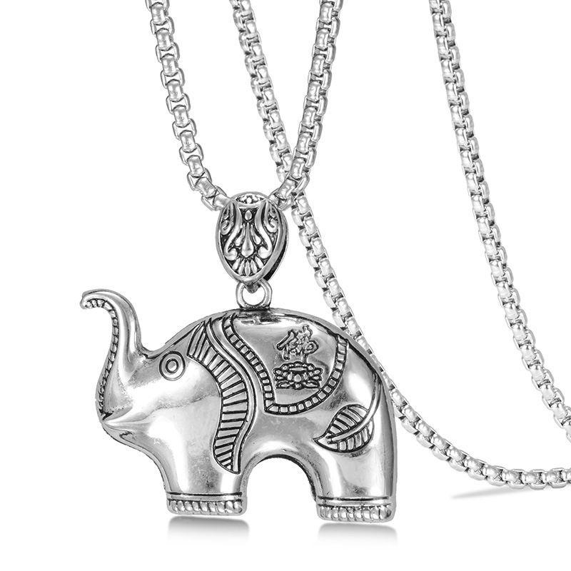 Requintado Hip Hop Jóias Crânio Colar Para Mulheres Dos Homens Elefante Colares com Pingente