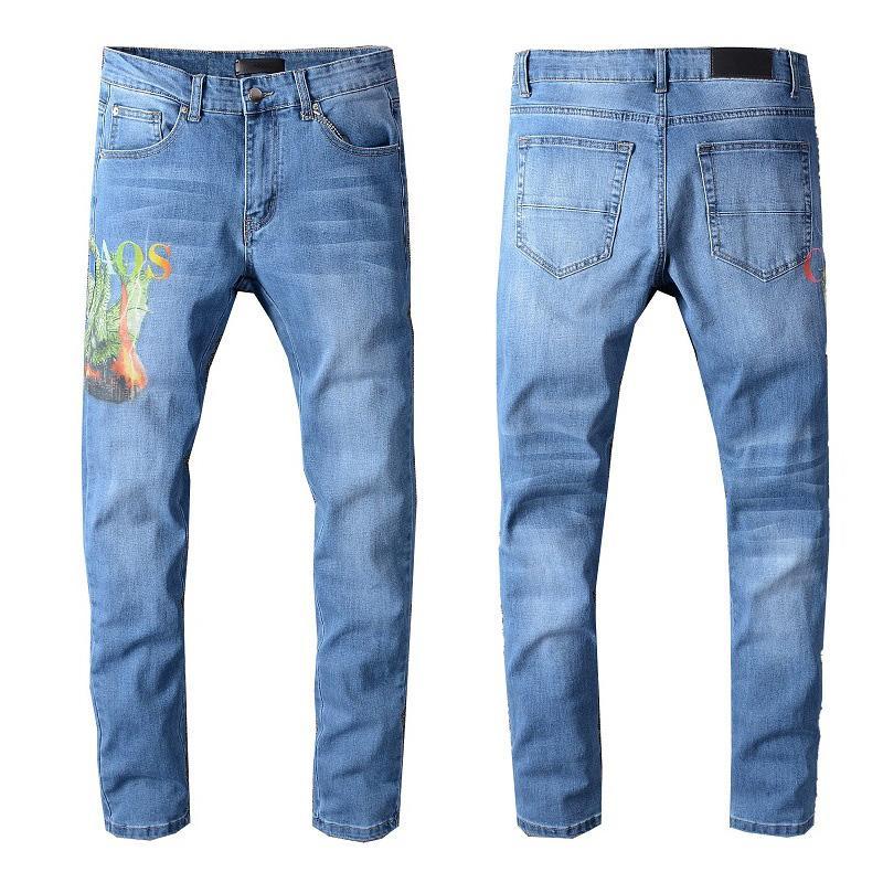 Mode Hommes Jeans de neuf Hommes Femmes Motard Tout match Jeans Hommes Motif imprimé Pantalon Slim Ripped Skinny Jeans