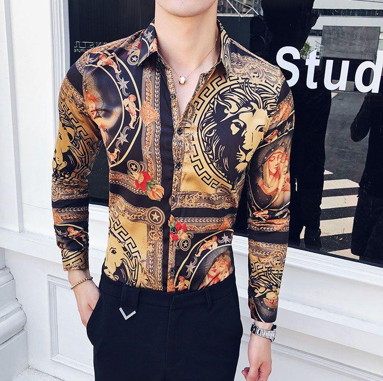 Совершенно Новые Мужские Рубашки Мода Повседневная Рубашка Мужские Рубашки Золотой Цветочный Принт Slim Fit Рубашки Мужчины
