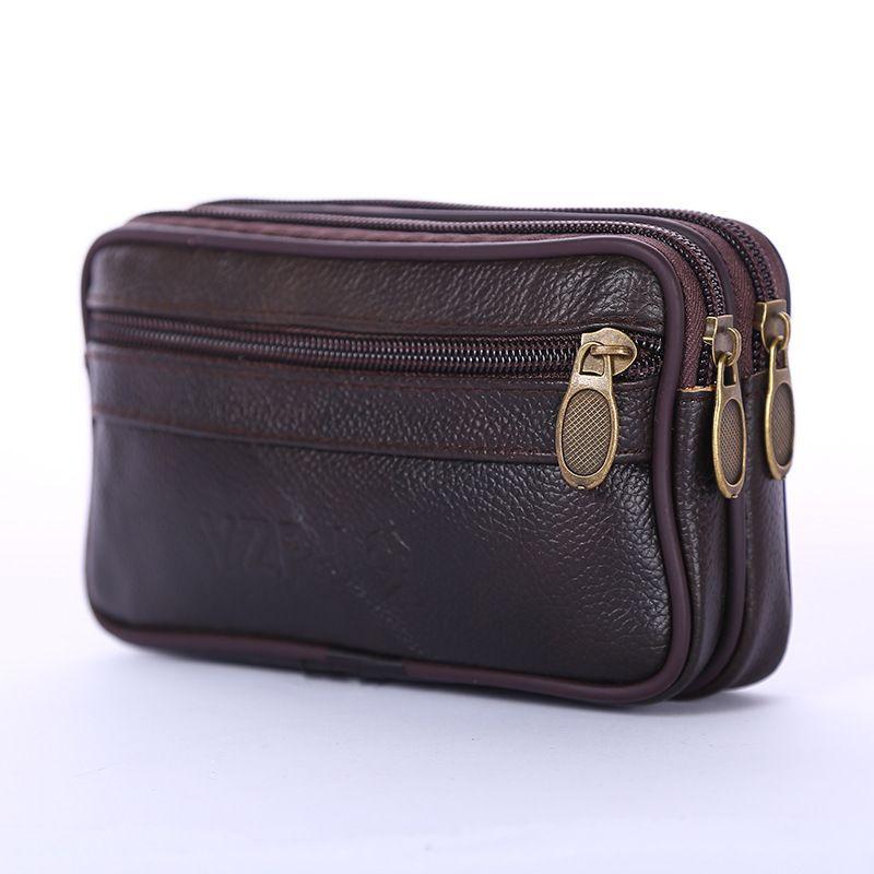 dos homens Bloco de Fanny Masculino Coin Purse suave PU de couro impermeáveis Casual Mobile Phone Man cintura Packs Bags Fannypack Belt Bag Billfold