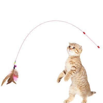 ريشة سلك الحيوانات الأليفة اجراس مضحك العصي القط الأسلاك الأسماك أقطاب مضحك القط التفاعلية ألعاب القطط الصيد