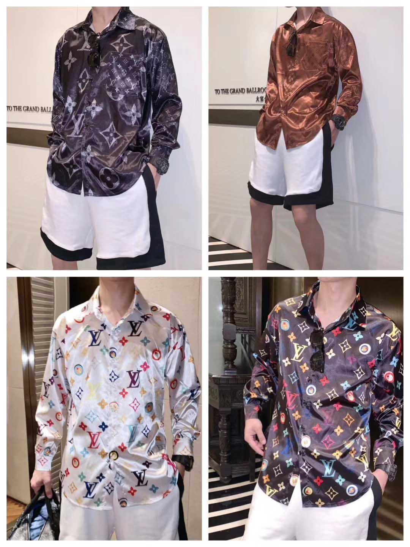 Slim chemise Medusa hommes = 2019ss 3D or imprimé floral chemise hommes manches longues occasionnels vêtements pour hommes chemise d'affaires