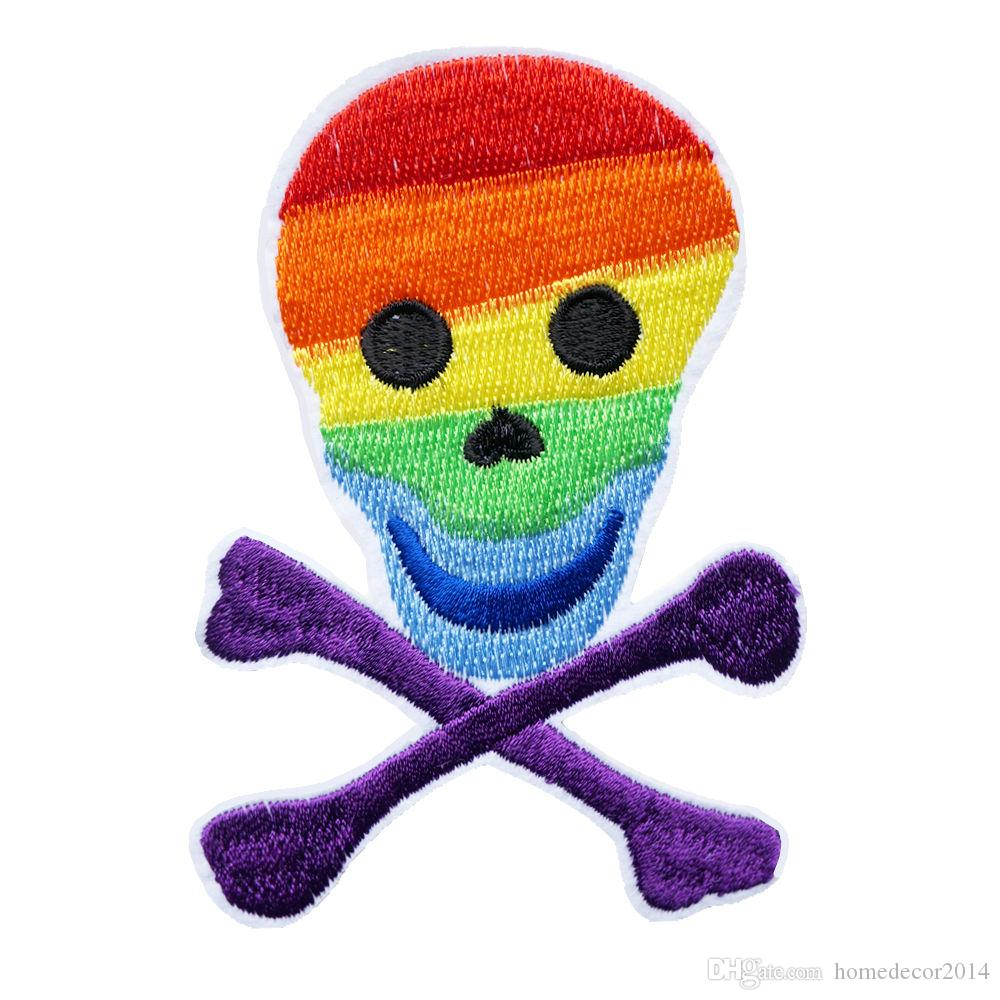 Rainbow Skull Punk Embroidered Patches Sew Iron On Badges LGBT Peace Love For Clothes DIY Appliques Decoration