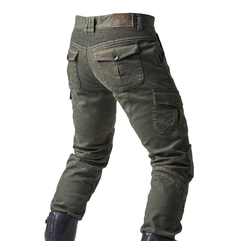 Pantaloni jeans Biker uomini di modo KIOVNO Con ginocchiere Moto denim pantaloni per Maschio all'aperto