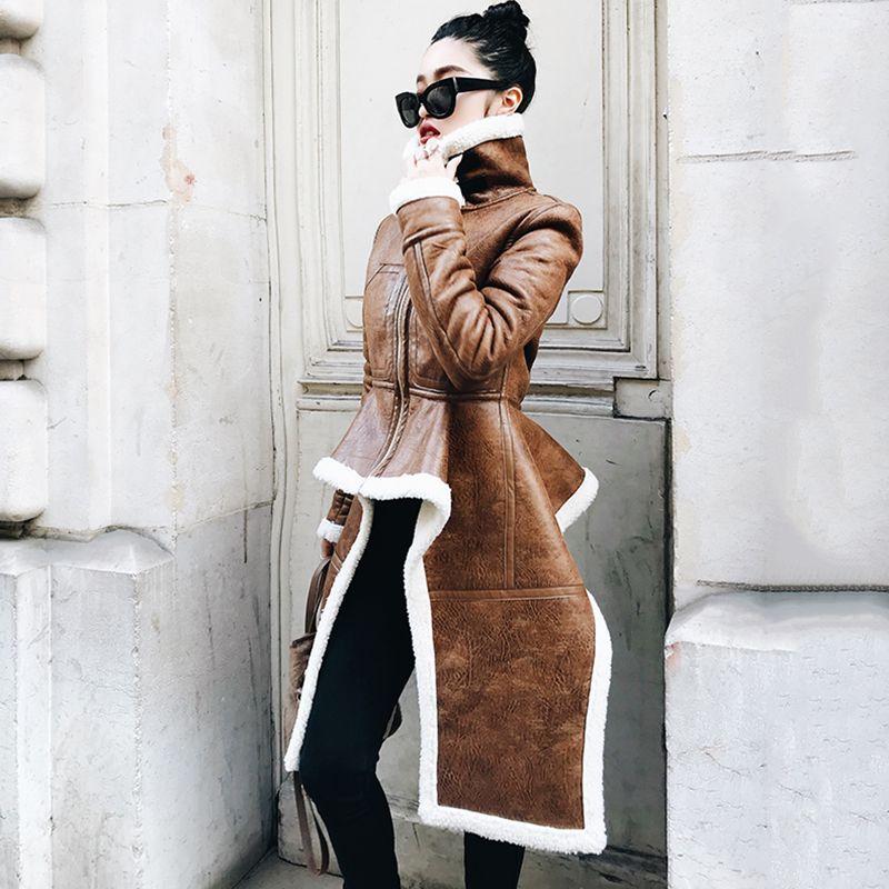 Yeni Varış Düzensiz Deri Ceket Artı Boyutu Kış Uzun Faux Kürk Kadın Kore Moda Giyim