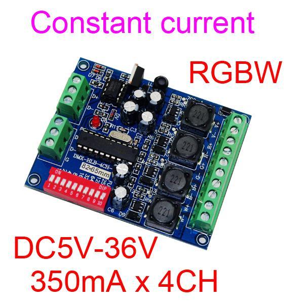 4CH RGBW corrente costante 350ma dmx dimmer regolatore, 4 canali DMX 512 DC5V-36V, decoder LED per lampada della rondella della parete del LED