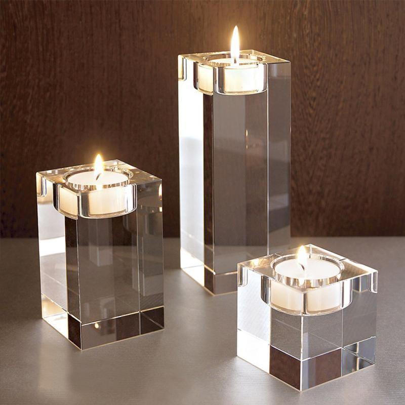 عرس يرتكز زينة فكرة K9 كريستال شمعة حامل مجموعة من 3 الخصم الاقمشه بيركلي شمعة شمعدان السواحل 6cm و8CM 10CM