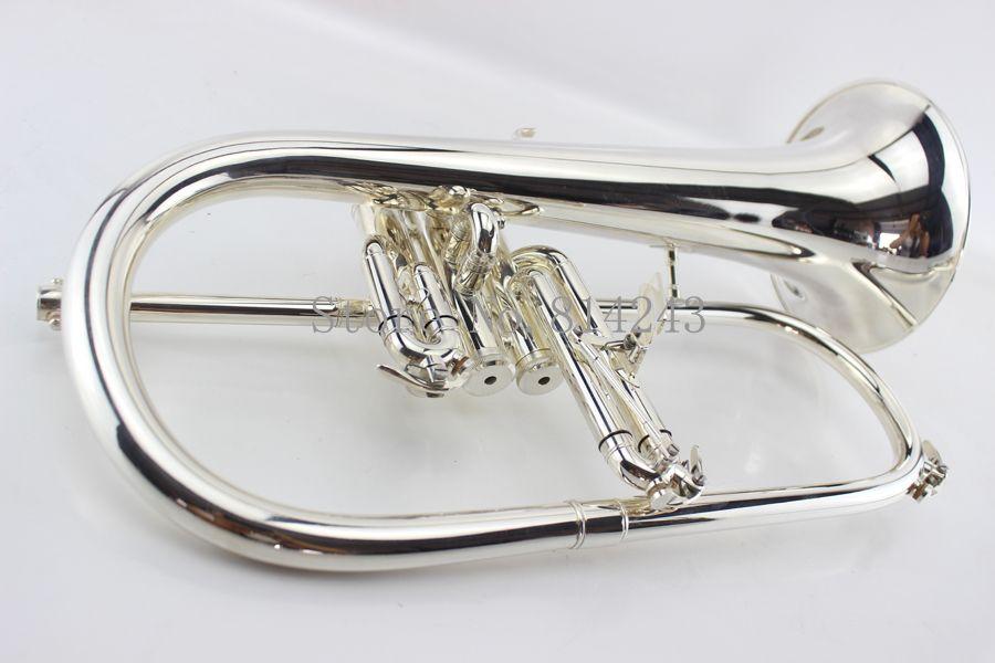 Amerikan Bach Flugelhorn Pirinç Gümüş Kaplama B Düz Bb Trompet Yüksek Kalite Müzik Aletleri Trompete Boynuz Kılıf Ile Ücretsiz Kargo