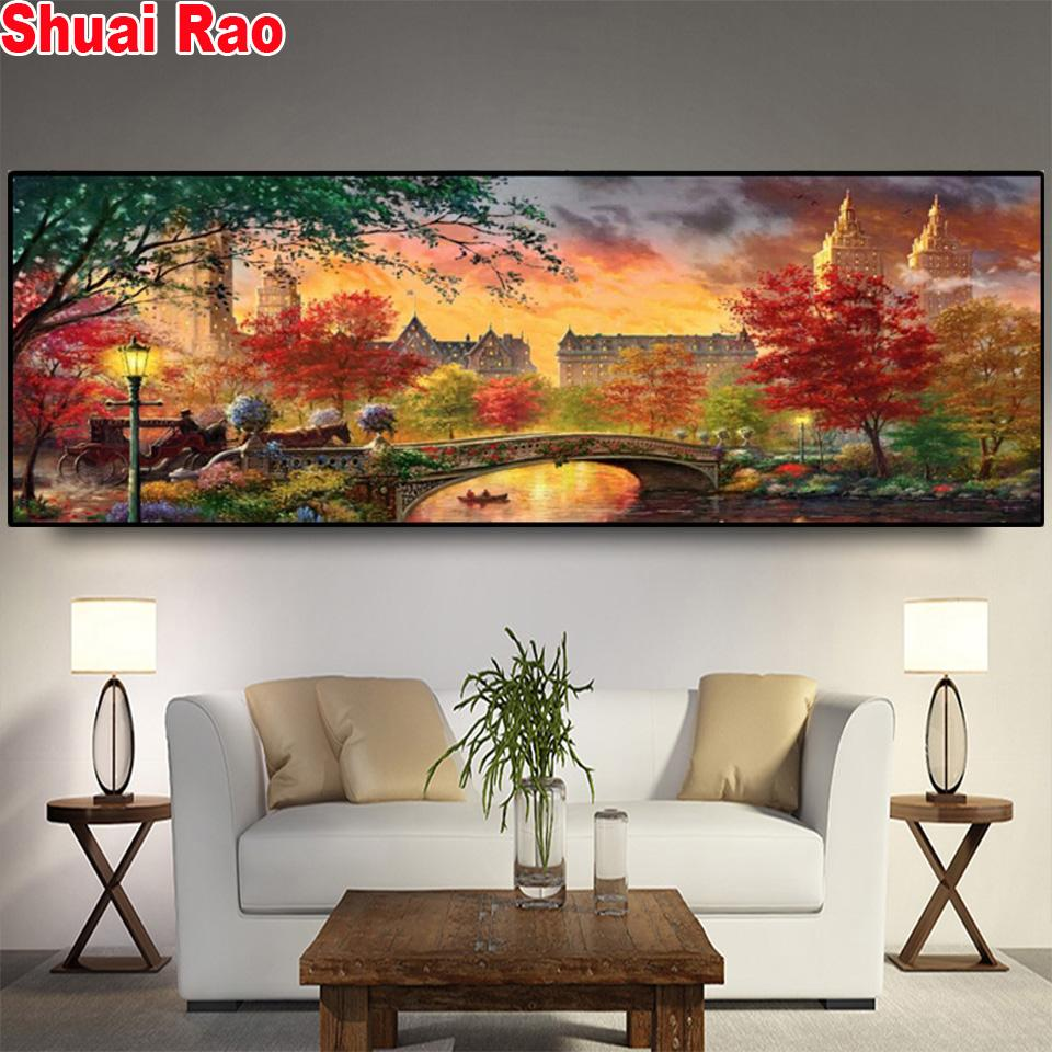 Full Drill Square Round Diamond Painting 5D Large size colorful city autumn scenery New Arrival Diamond Art Embroidery Decor