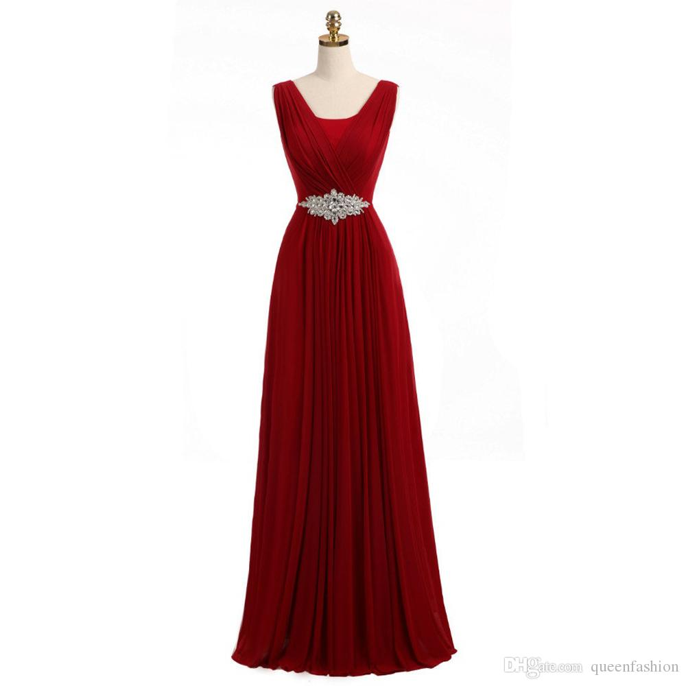 Long Chiffon Bridesmaid Dresses with Rhinestone Beaded A-line Maxi Floor Length Maid of Honor Dresses Low Back Wedding Guest Dress