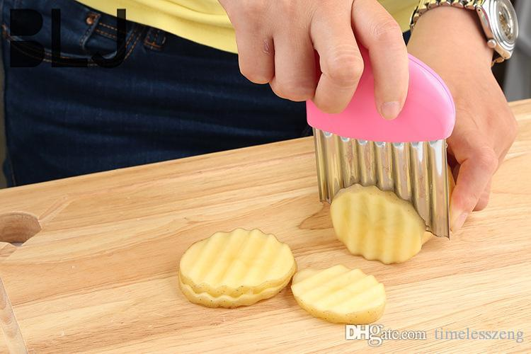 Paslanmaz çelik + PP sap dalga patates bıçağı Yaratıcı sebze parçalayıcı mutfak alet kesici Çok amaçlı Patates kızartması
