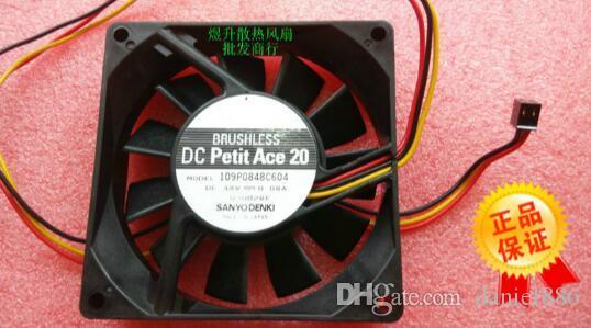 Oryginalny Sanyo 8020 109P0848C604 DC48V 0,08A 80 * 80 * 20mm wentylator chłodzący trójwodowy