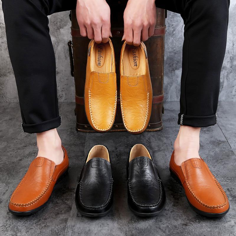 2019 Männer beiläufige echten Leder-Mann-Mokassin Mode Leder Italienisch Männlich Loafers Comfort Driving Schuhe 46 47
