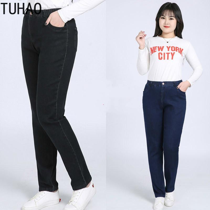 TUHAO 2020 de primavera y verano estiramiento de cintura alta pantalones vaqueros más el tamaño de la mama 9XL 8XL 7XL 6XL Pantalón de gran tamaño pantalones del lápiz pantalones de las mujeres WM38