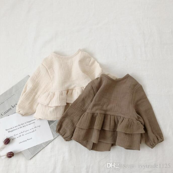 girl kids clothing long sleeved shirt Round Collar solid color Ruffles design girl clothing TOP 100% cotton Clothing