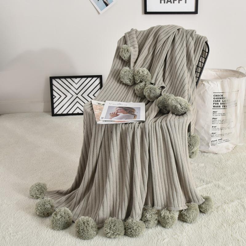 Sólido Blanket Air Condition malha com bola para a cama Sofá do escritório toalha colcha lançar cobertor para adulto crianças Colchas
