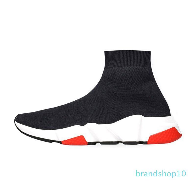 2019 nouvelle mode qualité chaussures en tricot Socquettes Haute vitesse Race Runnersmens Blanc Noir Slip-on triple de femmes Casual Shoesn 01