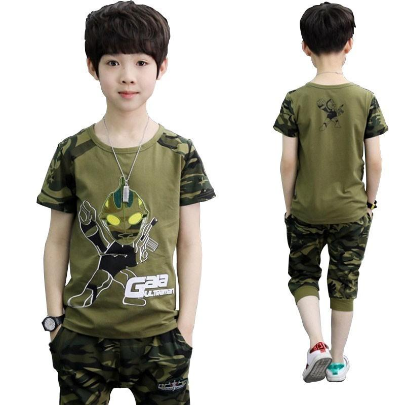 Camouflage Altman Kid Clothes Cotton Short Sleeve T Shirt Calf-pants Summer Children Outfits Boys Clothes Girls Sets Clothing