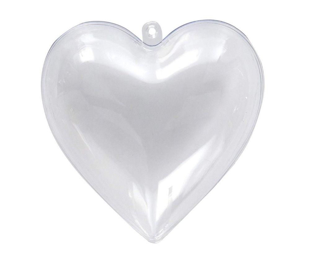 Promozione - fai da te verniciabile / infrangibile trasparente Decorazione di Natale, Fillable plastica del cuore Forma ornamento, 10 / confezione