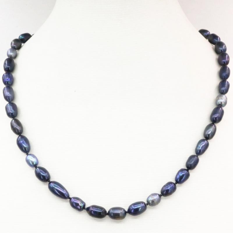 Bianco e nero perla borda la collana per le donne naturale 8-9mm Forma di riso perle d'acqua dolce catena Strand collane 18inch B3237