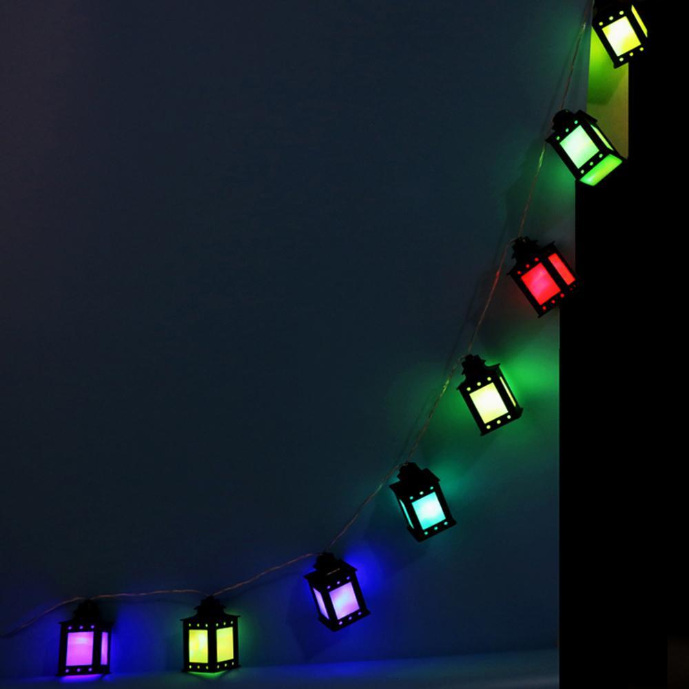 HAOCHU 165cm Ramadán Festival de decoración Lámparas coloridas de la caja caliente cadena de LED de luz musulmanes el Islam partido de la linterna EID fuentes de la Navidad SH190923