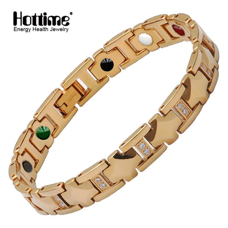 Hottime 5 en 1 pulsera magnética del tungsteno de los hombres de color oro imán de acero inoxidable pulseras para los hombres germanio pulsera de Energía