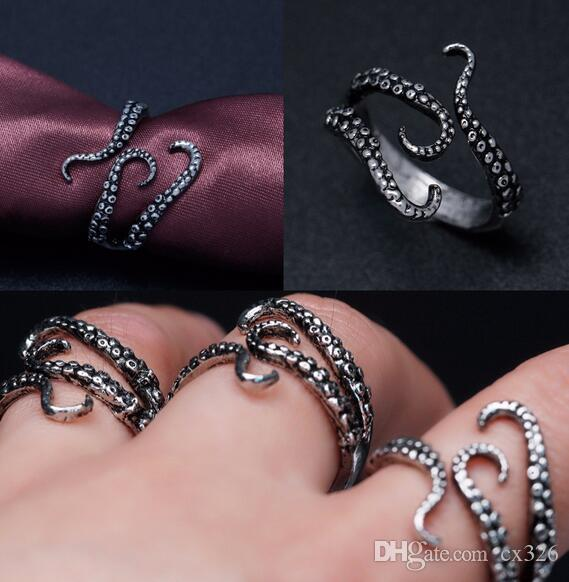 Antique Silver Titanium Octopus Ring Adjustable Size Fine Jewellery New Gift Bag