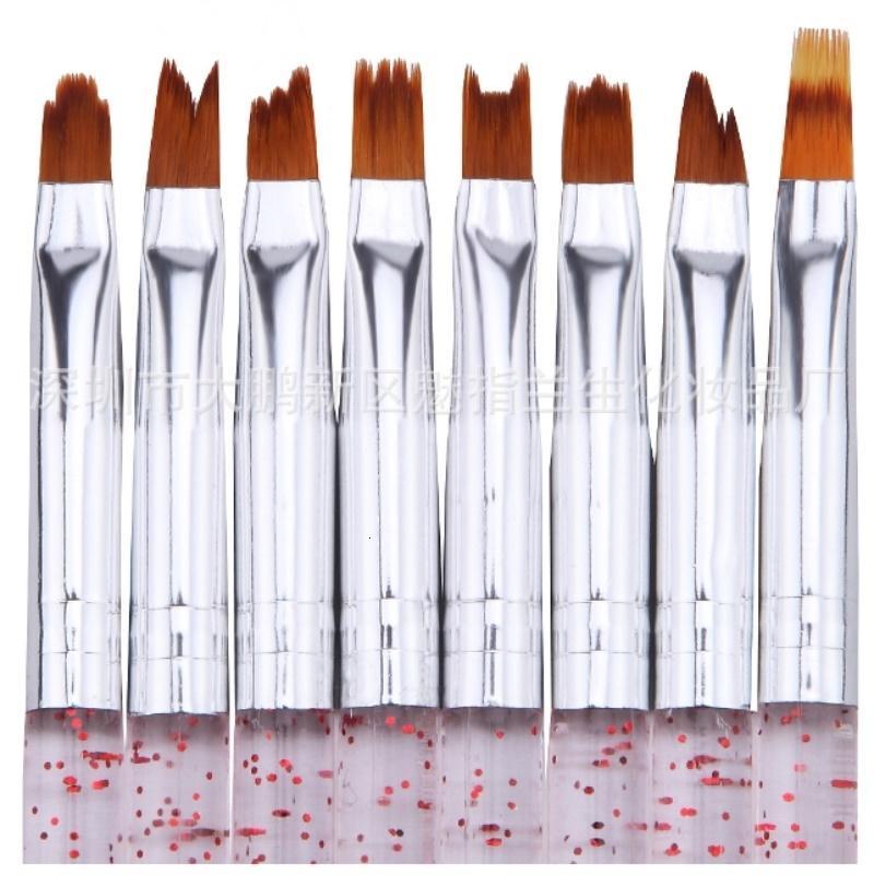 8Pcs UV Gel Polish Tip DIY Smile Moon Shaped Acrylic French Nail Art Brush Set 3D Painting Drawing Liner Pen / by dhl 200pcs SH190908