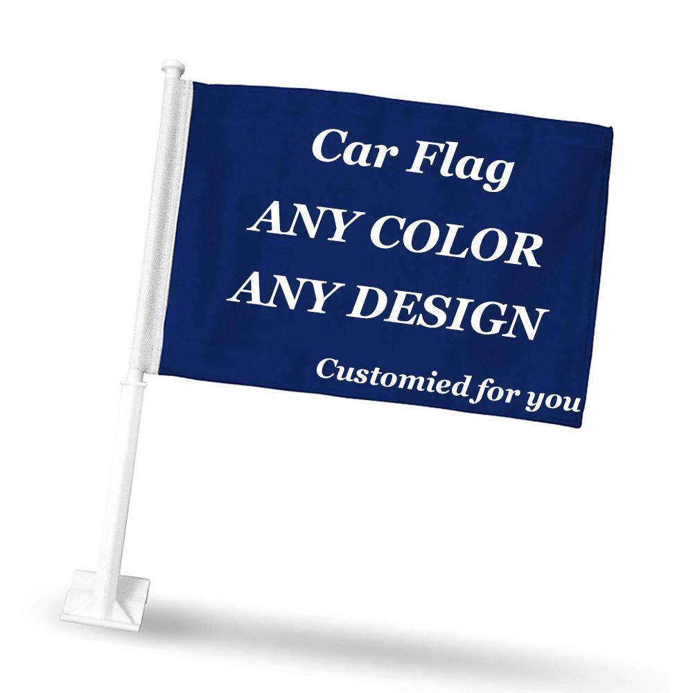 Benutzerdefinierte Fenster-Auto-Flaggen und Banner Design Logo Custom Car Flag anpassen Banner Polyester 30x45cm 20.01 / 50pcs Auto-Fenster-Dekor