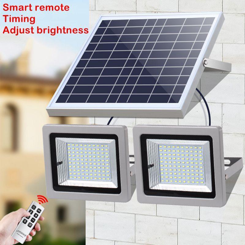 Umlight1688 2 in 1 Solarlebensmittel-helles doppeltes Hauptlicht wasserdichtes IP65 Garten-Weg-Straßen-Solarlandschaftslicht 2 * 100Leds