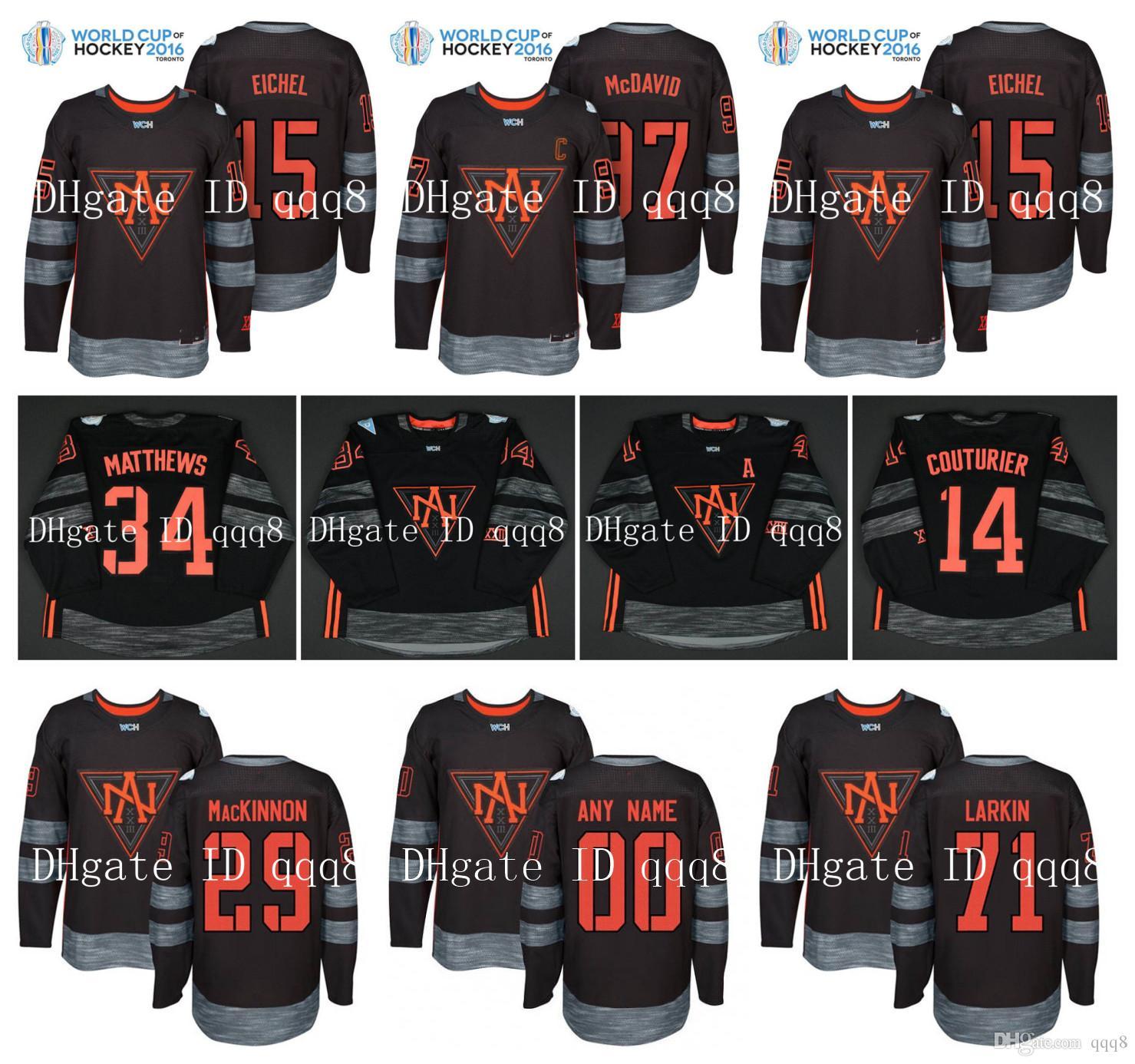 Équipe Amérique du Nord Jersey 97 CONNOR MCDAVID 34 Auston MATTHEWS 15 JACK EICHEL 13 JOHNNY GAUDREAU 44 RIELLY Coupe du monde de hockey CHM Jersey