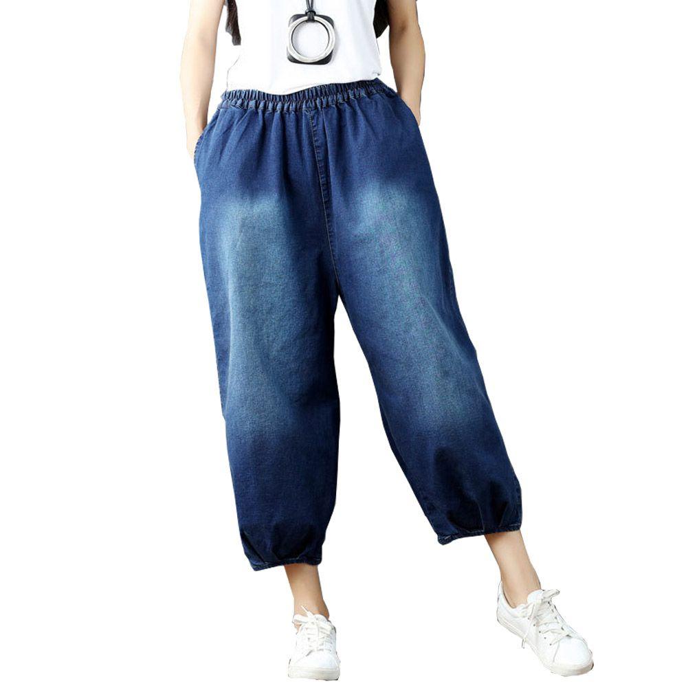 Compre Pantalones Vaqueros De Cintura Alta Mujer Pantalones Capri Mujer Tallas Grandes Casual 2019 Primavera Verano Pantalones De Mujer Pantalones De Mezclilla De Algodon Jean Femme Moda Coreana A 24 12 Del