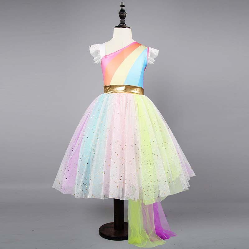 Girls Unicorn Rainbow Tutu Dress Strip Princess Girls Birthday Party Dress Children Kids Halloween Unicorn Costume