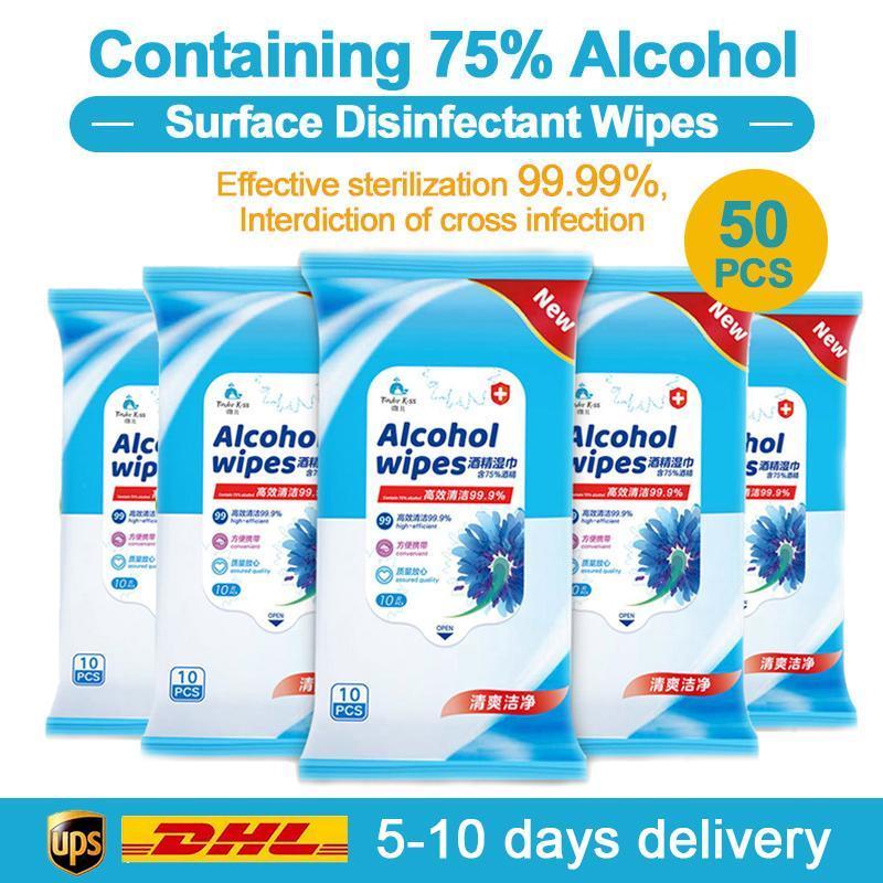 Alcool Lingettes nettoyantes 50pcs 75% Super Soft Pads Grand Antiseptique désinfection lingettes humides 8x6 stérilisation premiers soins Clean