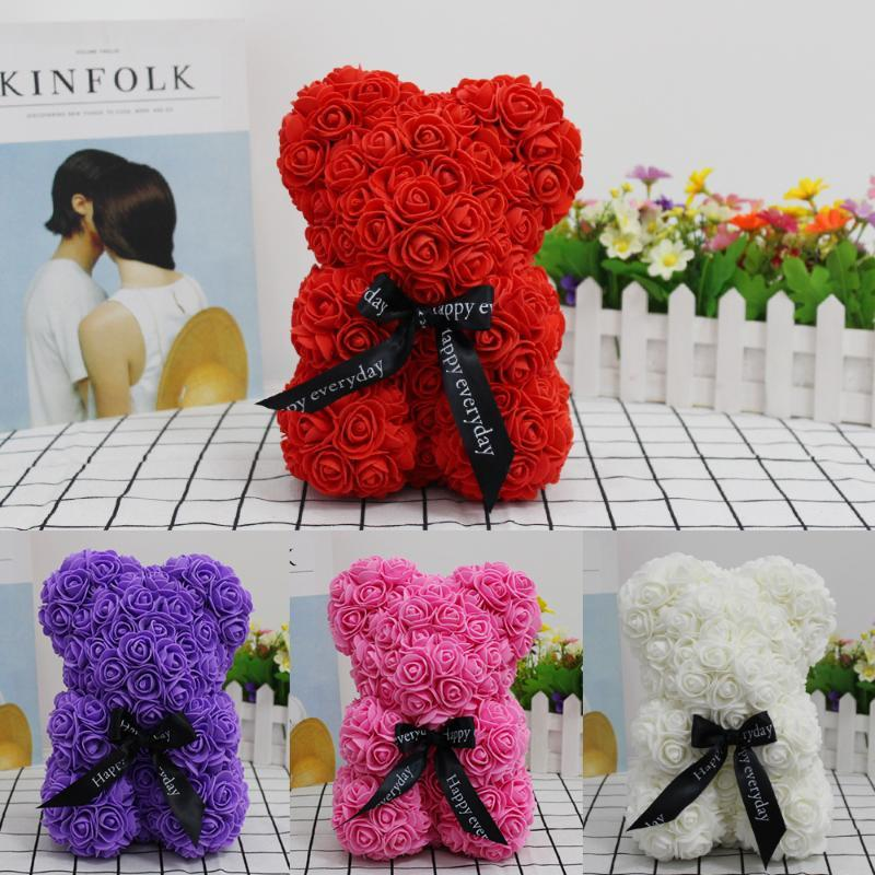 SICAK Sevgililer Günü Hediyesi 25cm Kırmızı Gül Ayıcık Gül Çiçek Yapay Dekorasyon Yılbaşı Hediyeleri Kadınlar Sevgililer Hediye
