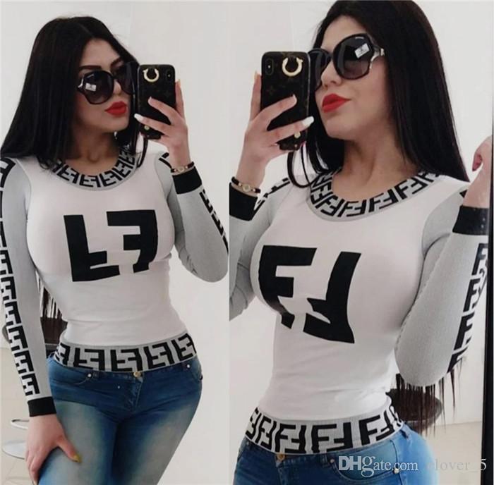 إمرأة مثير الملابس الداخلية قميص تي طباعة قميص طويل الأكمام الخريف الشهير تي شيرت أزياء قمم قميص كلوبوير حار جدا klw2723 الملابس النسائية الأنيقة