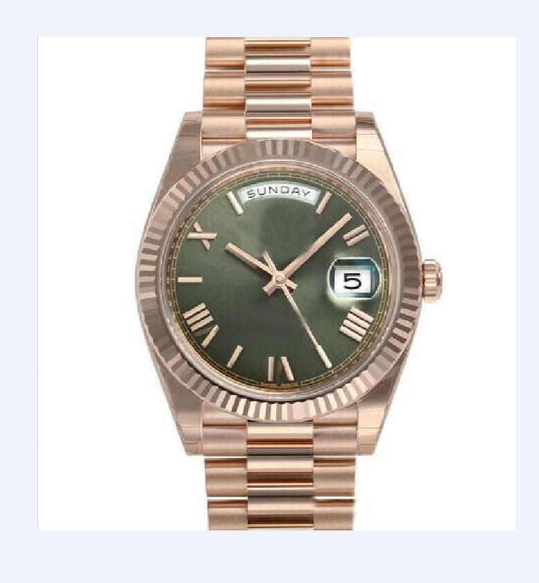 mens relógios atacado de moda Casual Unisex automática Modern Mens relógios Dia Data Presidente 40 milímetros Ouro Verde Roman Dial Assista