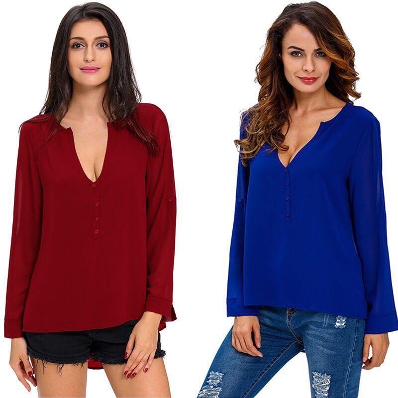 Plus size mulheres Blusas Femininos Estilo Verão Blusas Mulheres Blusas Camisa Fora Do Ombro Manga Longa Com Decote Em V Mulheres Tops