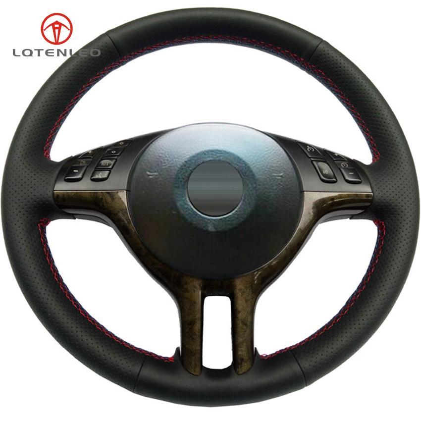 التوجيه جلدية سوداء الاصطناعي تغطية عجلة القيادة لسيارات BMW 3 سلسلة E46 2000-2006 5 سلسلة E39 E53 X5 2003 Z3 E36 2000-2002