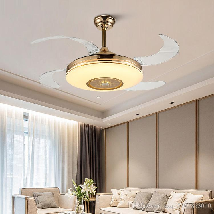 2020 42 Inch LED Ceiling Fans with Warm, Daylight, Cool White Light Foldable Invisible Fan Ceiling Fans Lights