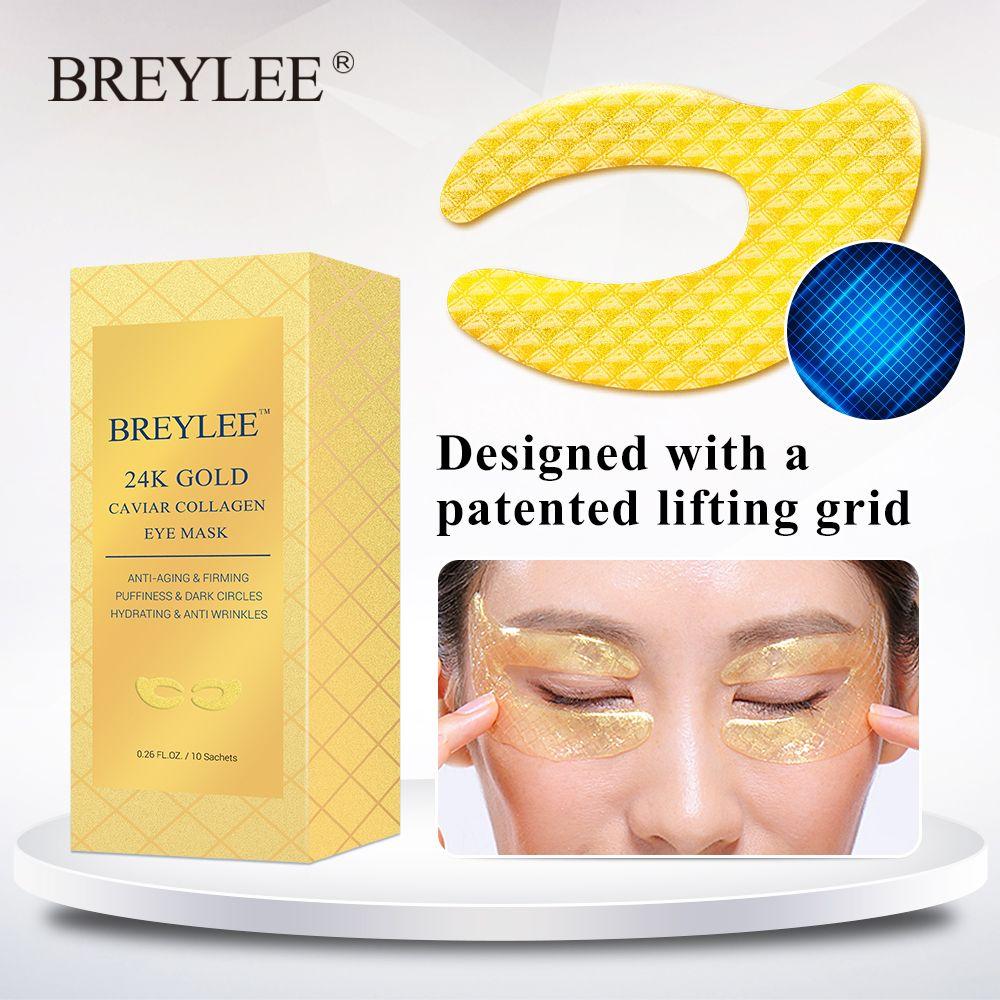 BREYLEE 24K Gold Eye Mask Caviar Collagen Essence New Style Eye Patch Sheet Mask Eye Skin Care 10 pares