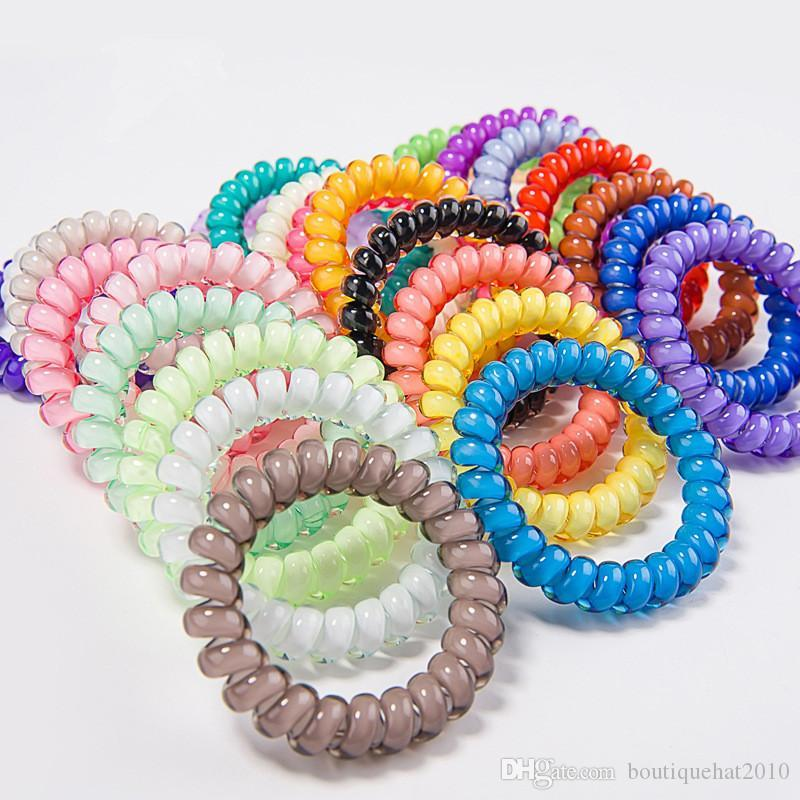 Gum Coil Hair Tie 6.5cm Telephone Wire Cord Girls Elastic Hair Band Ring Rope Candy Color Bracelet Stretchy Women Hair Accessories