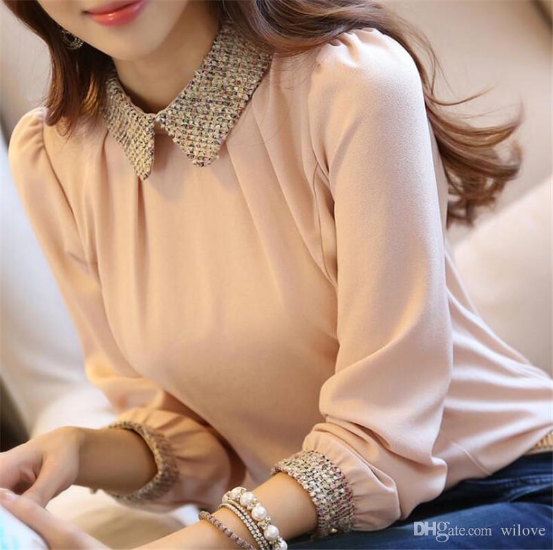 Новый оптовый моды Корейский леди длинным рукавом Кружева шифон рубашка Плюс Размер S-3XL Питер Пэн воротник фонарь рукавом Женщины блузка